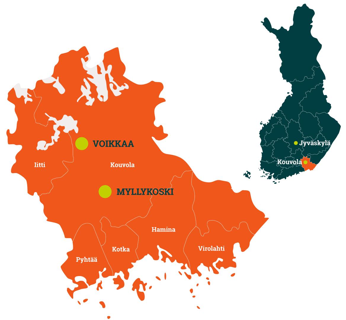 Redeven yritysalueet kartalla.